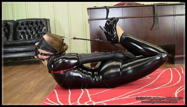 Hooded Goth Girl Wallpaper Serene Isley Leather Strap Hogtie In Catsuit By