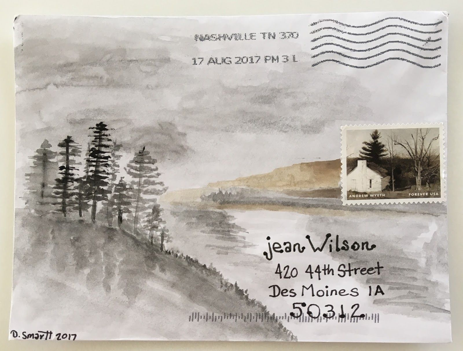 decorated envelopes, mail art, lettering ideas. Scene added to postage stamp.