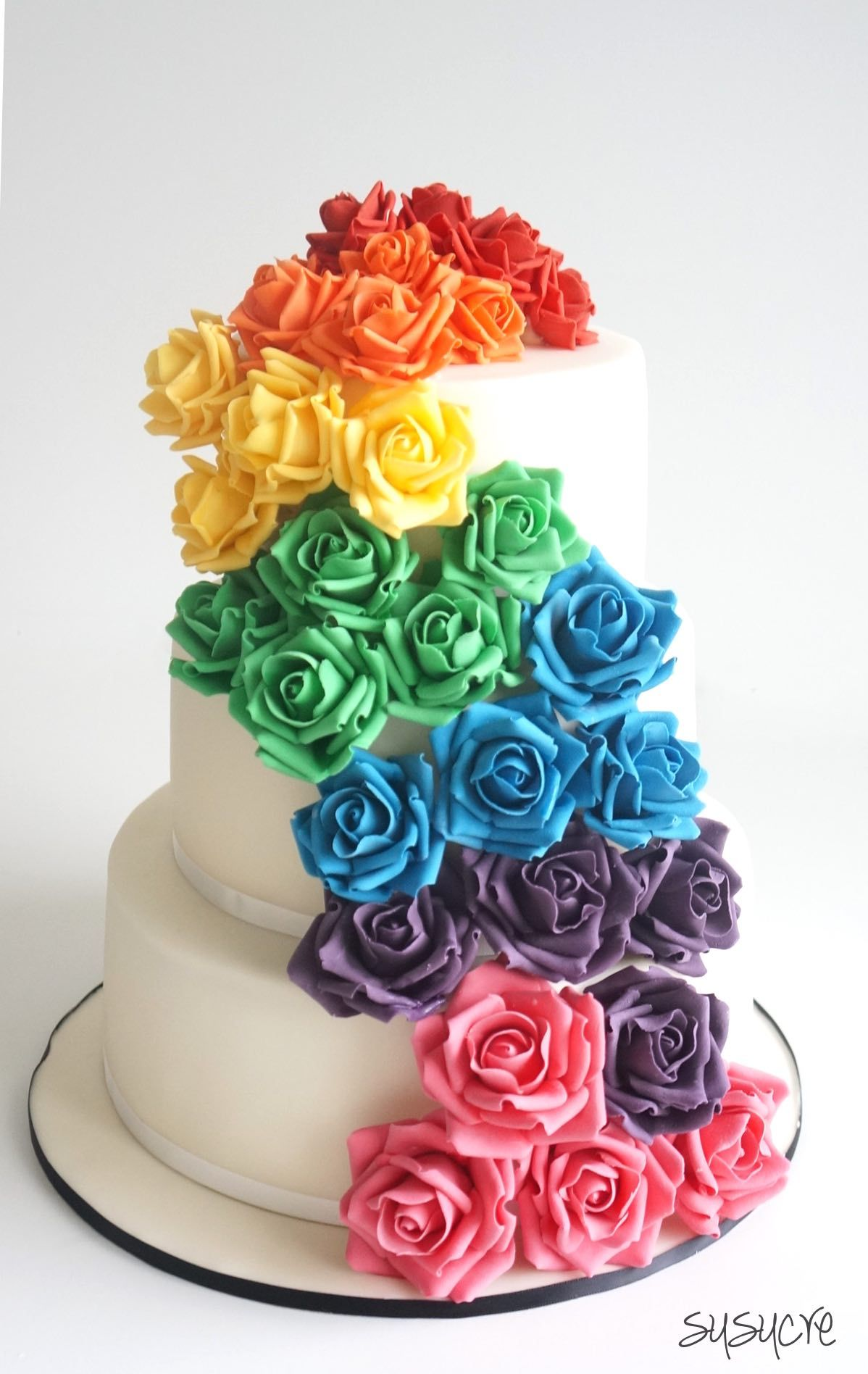 Rainbow rose cake with dozens of rainbow roses fit for a beautiful and colorful wedding celebration custom made by susucre in Singapore
