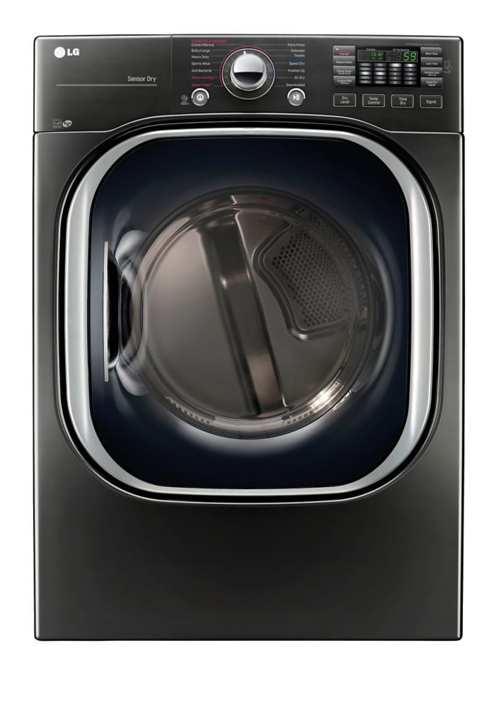 7 4 Cu Ft Ultra Large Capacity Electric Steam Dryer In Black Stainless Steel Energy Star Gas Dryer Laundry Room Storage Lg Washer Dryer