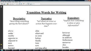 sequence transition words