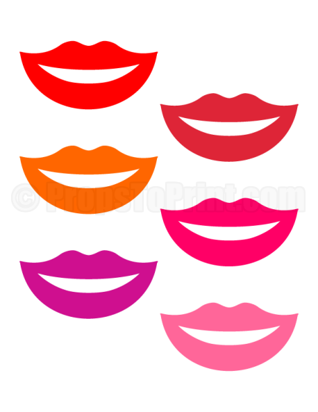 Printable lips photo booth prop. Create DIY props with our free