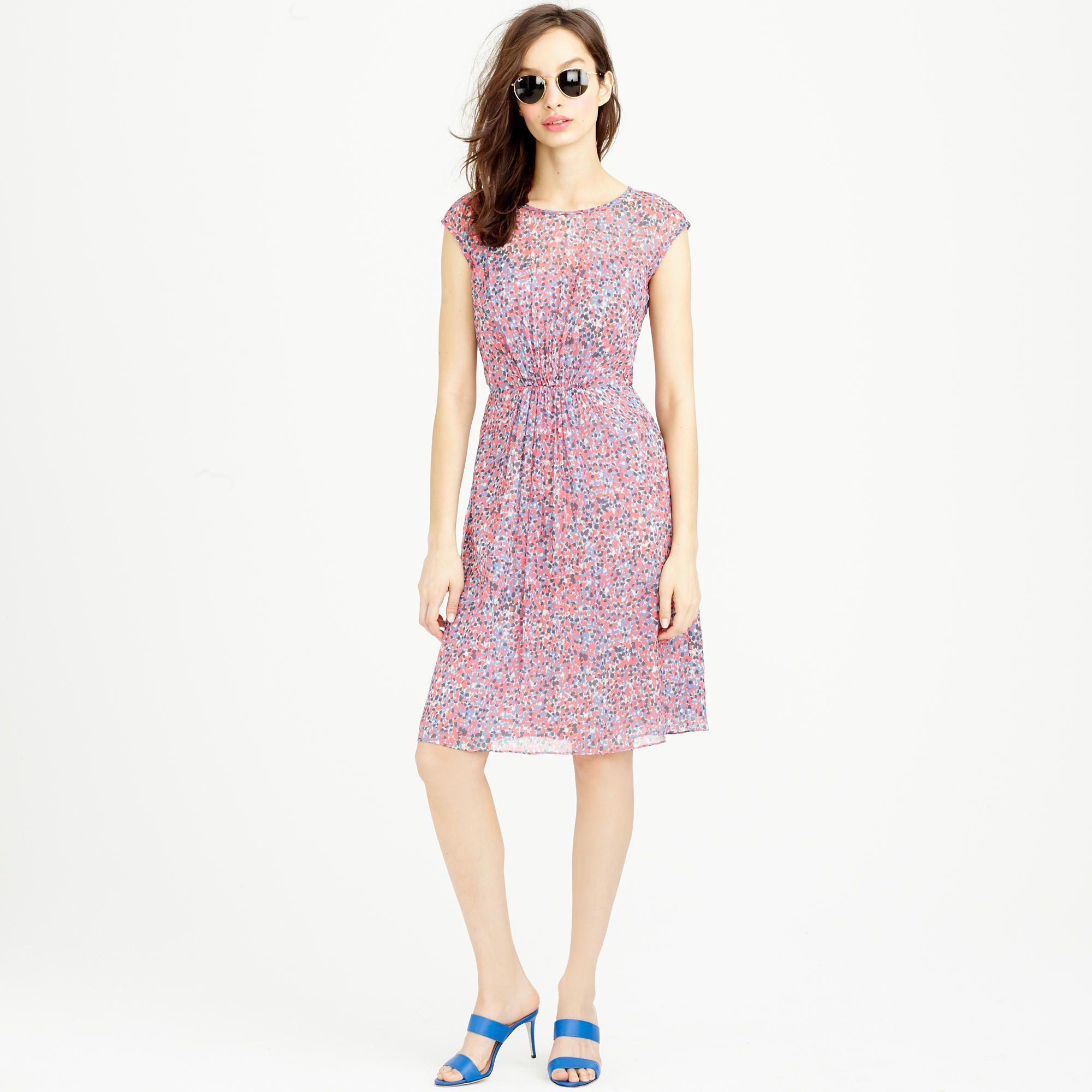 Sleeveless silk chiffon dress in watercolor dot dresses jcrew