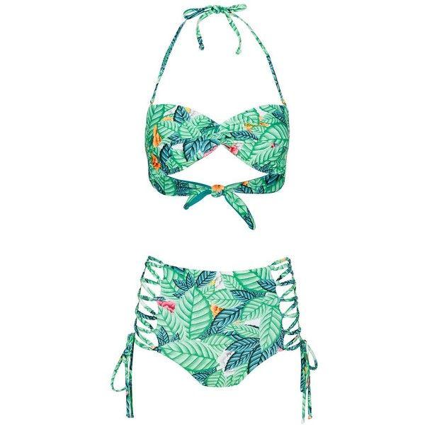 Mara Hoffman Bandeau Leaf Print Bikini- FINAL SALE (6 755 UAH) ❤ liked on Polyvore featuring swimwear, bikinis, hawaiian, mara hoffman swimwear, bikini swimwear, strappy bandeau top, bandeau top bikini and green bandeau top