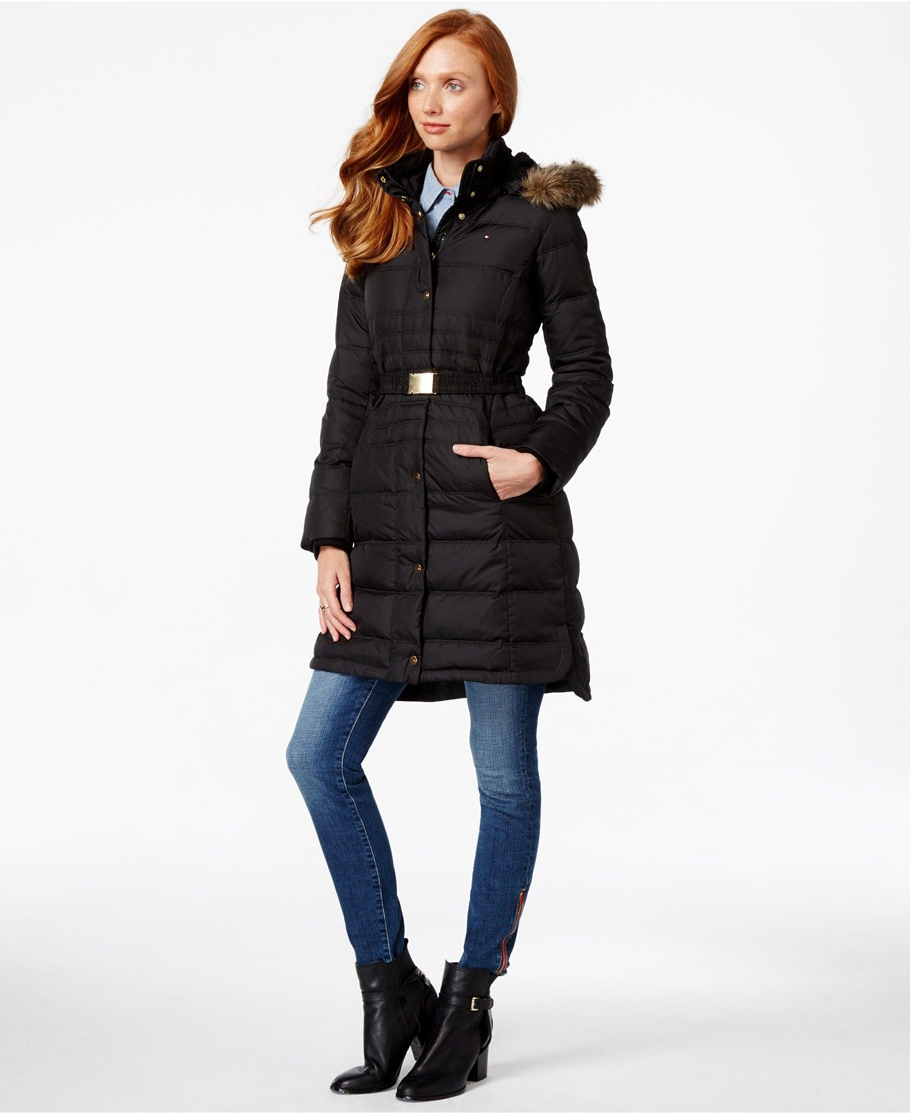Tommy Hilfiger Faux Fur Trim Belted Puffer Coat Coats Women Macy S Coat Coats For Women Women S Puffer Coats [ 1616 x 1320 Pixel ]