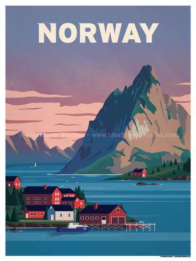 Beach House Norway Mini Poster 11x17in