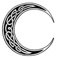 Black Celtic Moon Tattoo Design