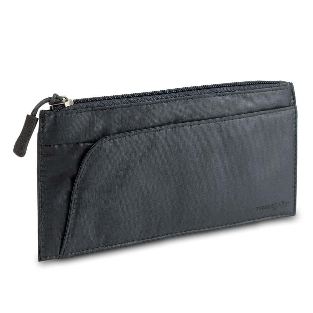 Travelon Safe ID Hack-Proof Large Credit Card Wallet w- RFID Blocking, Dark Gray