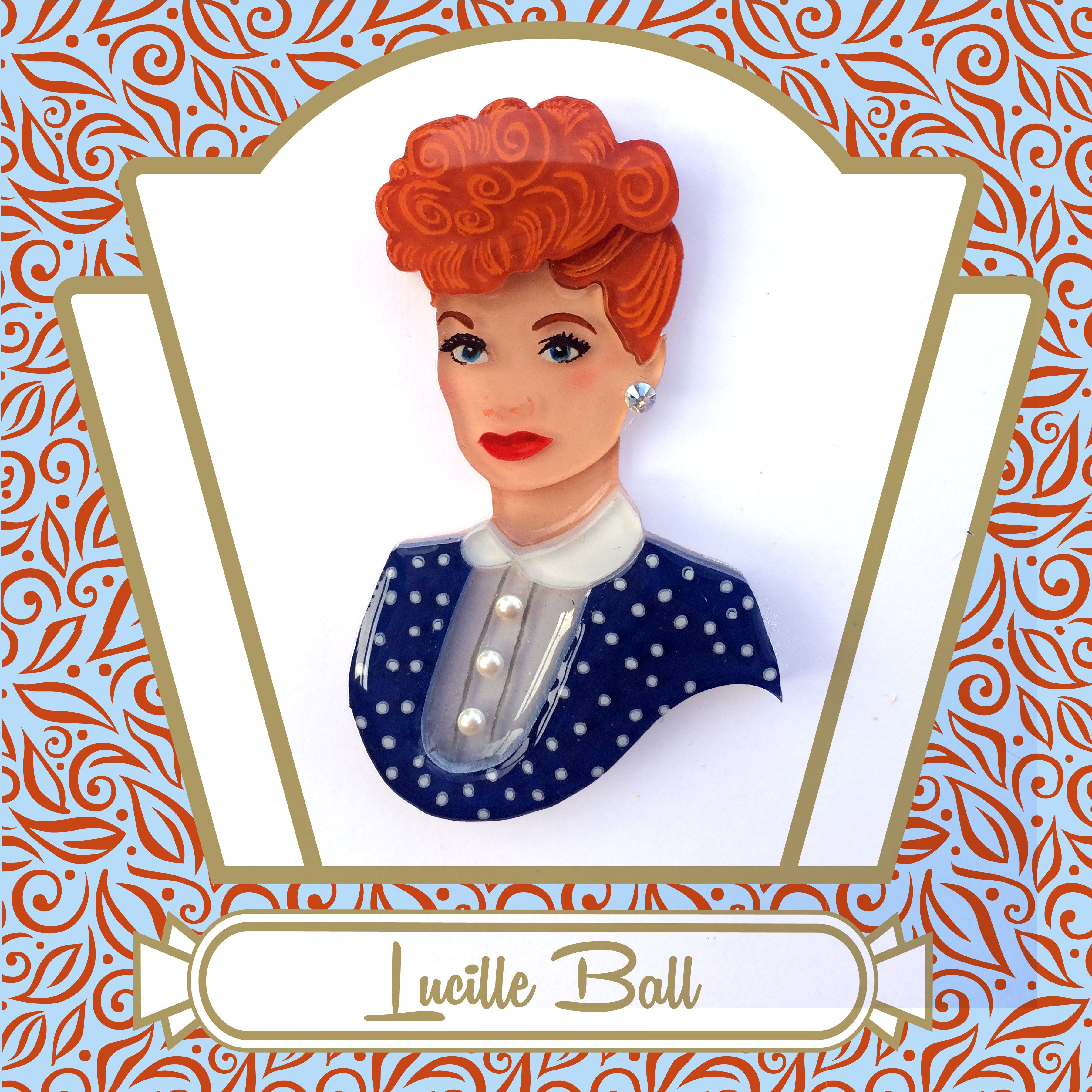 61da725fc Lucille Ball Vintage-Inspired Portrait Art Brooch by Tangerine Menagerie  (not for sale - in private collection)