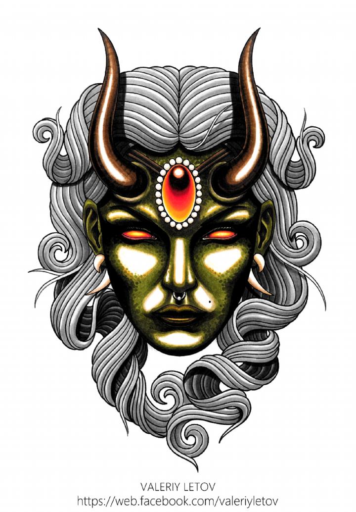 demon girl tattoo sketch by ValeriyLetov sketches