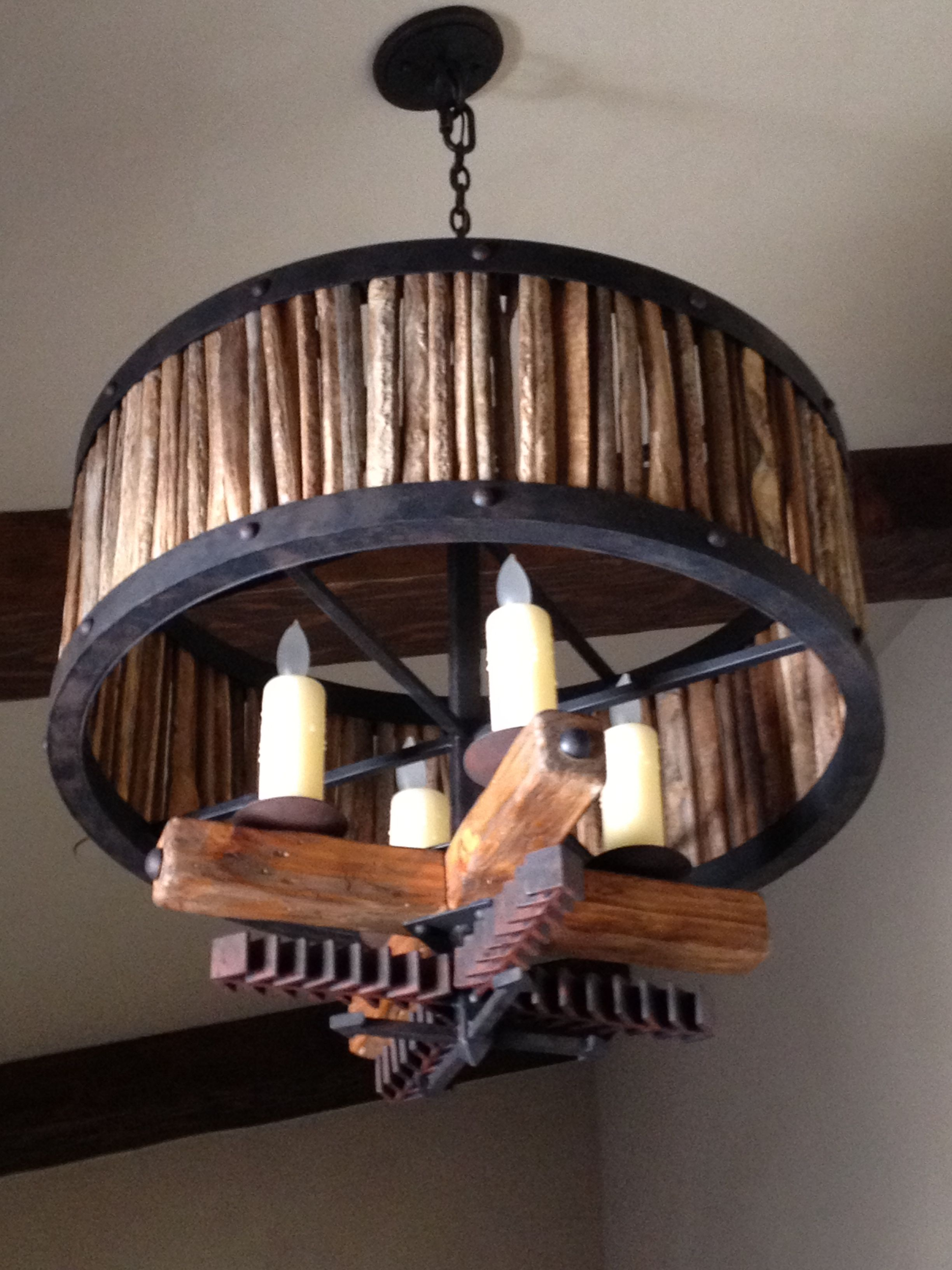 Cactus ribs iron and wood chandelier lighting designed by cactus ribs iron and wood chandelier arubaitofo Images
