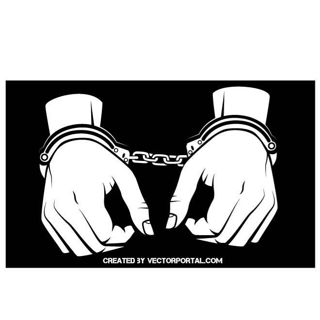 Hands In Handcuffs Vector Image Handcuffs Drawing Handcuffs Vector Free