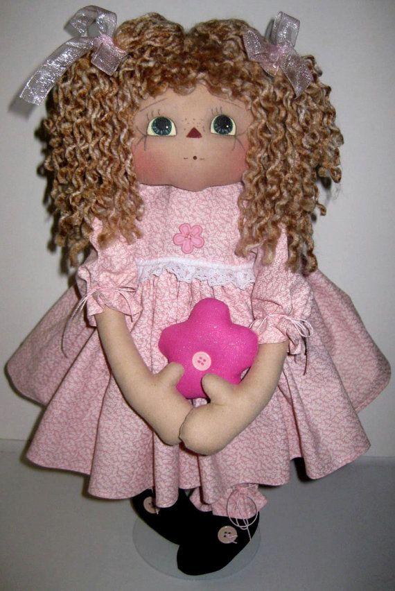 Primitive Raggedy Ann Doll Pretty In Pink by pattiannraggedies, $25.00