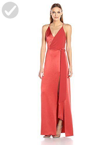 HALSTON HERITAGE Women's Sleeveless V Neck Satin Slip Gown with Sash, Chili, 12 - All about women (*Amazon Partner-Link)