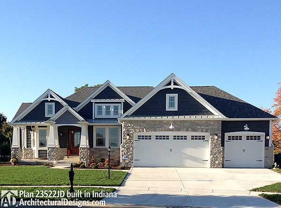 Plan 23522jd Craftsman With Multiple Garage Options New House Plans Architectural Design House Plans House Exterior