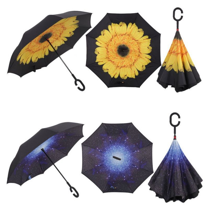 New Windproof Reverse Folding Umbrella Double Layer Inverted Self Stand Out Rain Gear C Type Handle Semi Automatic Pl2