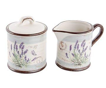 Set de azucarero y lechera de cerámica Lavanda