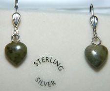 Heart Earrings Sterling Silver Lever Back Connemara Marble Ireland JW1068