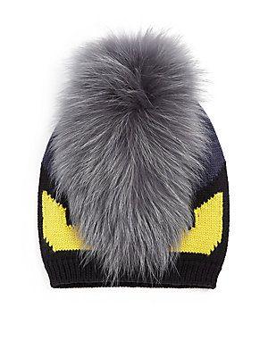 Fendi Monster Fur-Trimmed Wool Hat  c50f69028d45