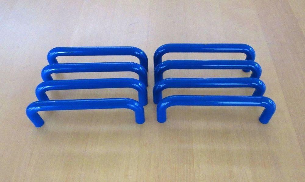 Royal blue plastic cabinet pulls/drawer handles circa 1970 s-set of 8