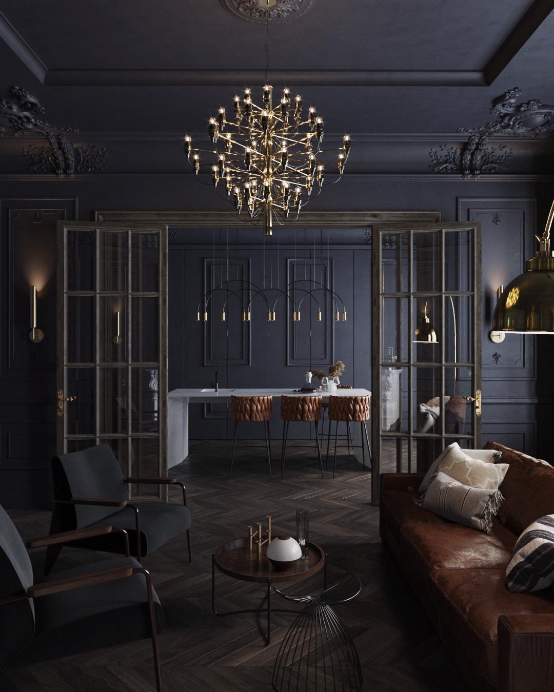 Черный интерьер квартиры в Санкт-Петербурге - дизайн Mossebo