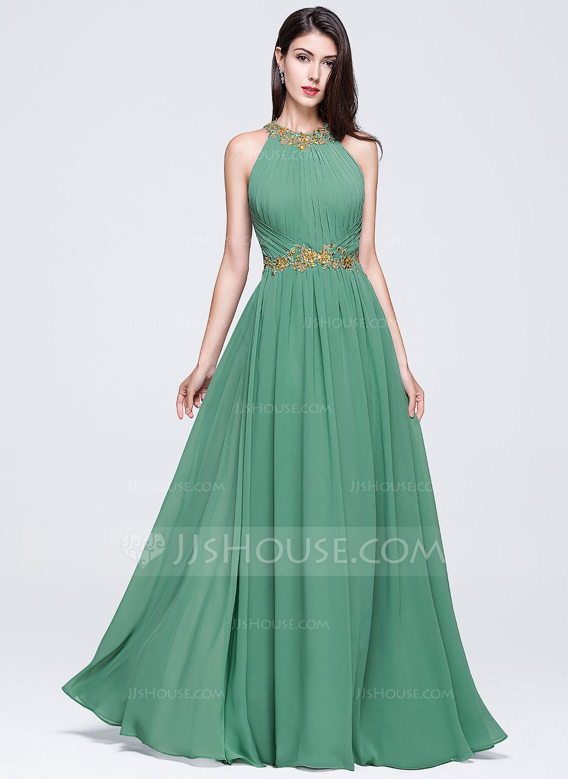 A-Line Princess Scoop Neck Floor-Length Chiffon Prom Dress With Ruffle  Beading Appliques Lace Sequins (018070360) - JJsHouse 56fb1f42b532