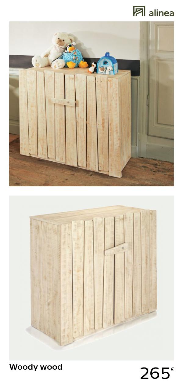 alinea : woody wood commode en pin massif 2 portes meubles ...