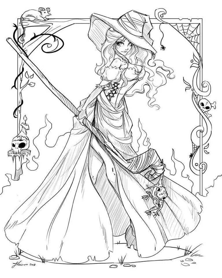 Witch Art Coloring Page For Adults Witch Coloring Pages Coloring Pages For Girls Halloween Coloring Book