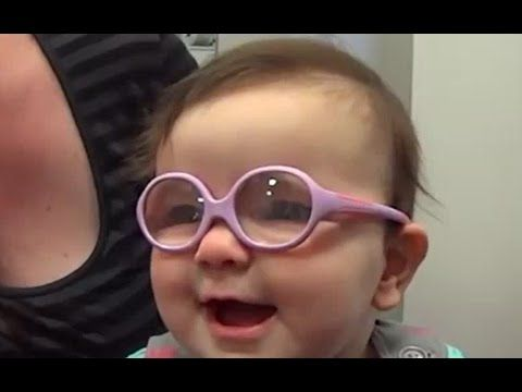 3fe44e874437 Cute Babies React to New Glasses - Baby Sees Parents For The First Time .