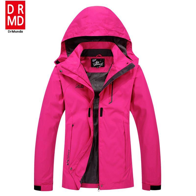 8c21af2245e8f Outdoor Travel Rain Jacket Women Hiking Jacket Plus size Waterproof Solid  Rose Camping Fishing Jacket Mountain