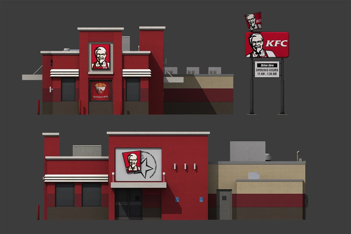 KFC Restaurant Minecraft, Art appliqué, Ville américaine