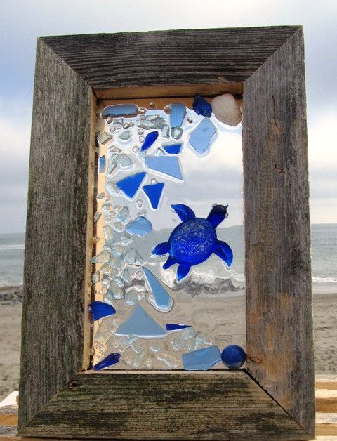 Sea Glass Turtle Mosaic Several Pieces Of Authentic Sea Glass Was Used To Create This Turtle Mosaic Sea Glass Crafts Sea Glass Art Glass Art