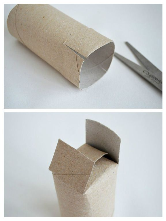 "Toilet roll ""box"". Slit the tops of the toilet rolls, fold over and glue.           Gloucestershire Resource Centre http://www.grcltd.org/scrapstore/"