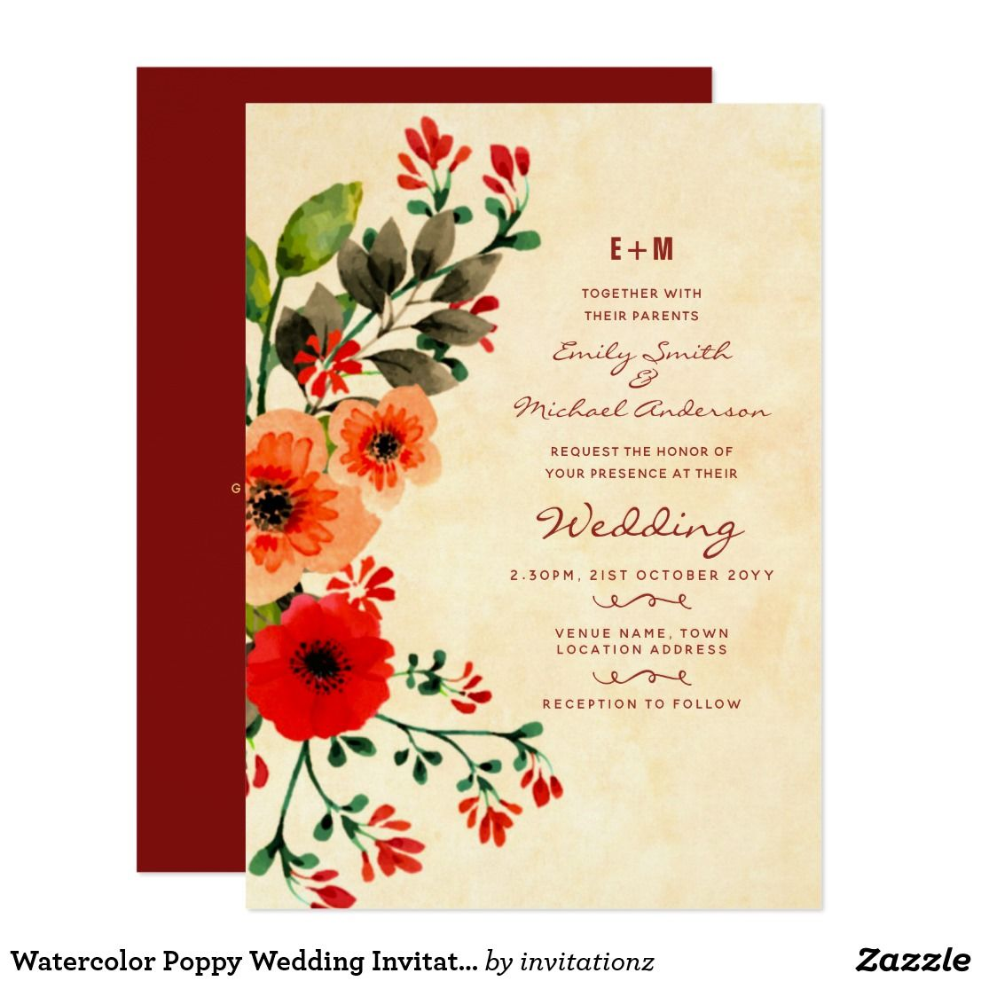 Watercolor Poppy Wedding Invitations Peach Red | Pinterest | Wedding ...
