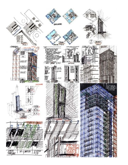 Sketches for Pentominium in Seoul by Murphy/Jahn Architects