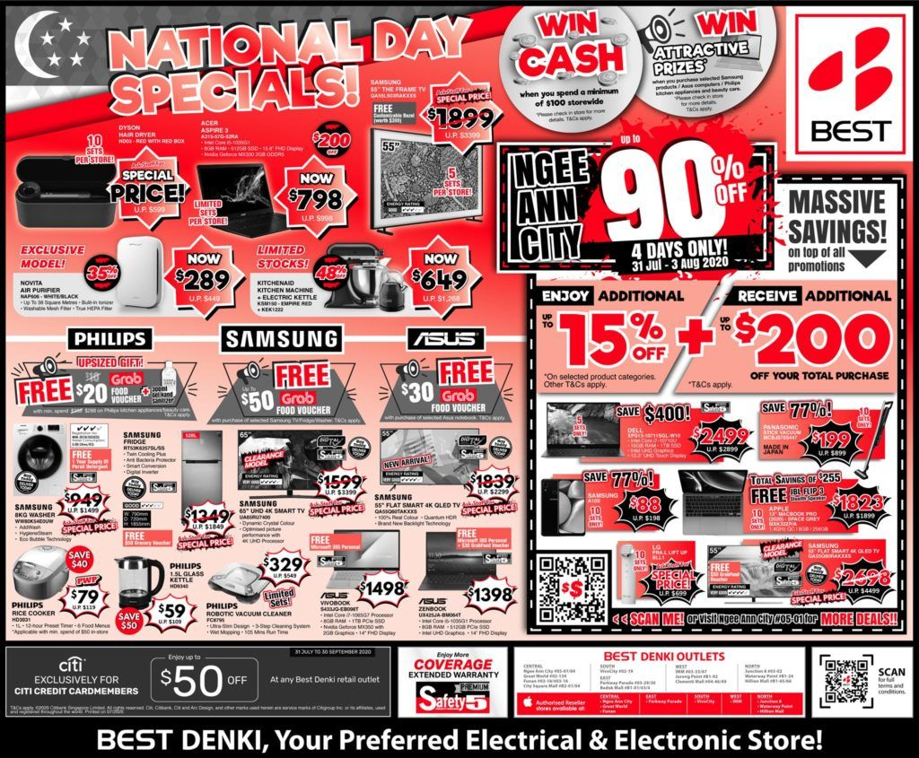 Best Denki Singapore National Day Specials Up To 90 Off Promotion 31 Jul 3 Aug 2020 In 2020 Singapore National Day National Day National