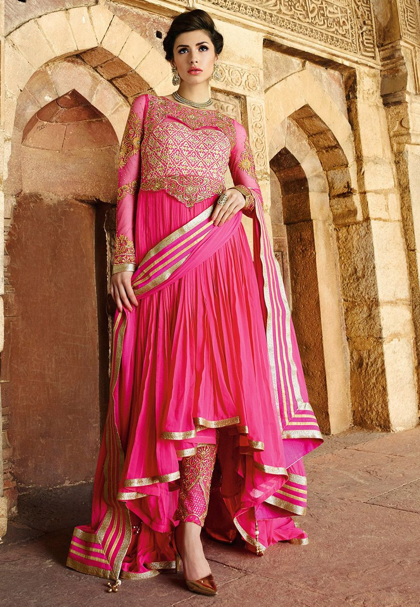 242a9a0fd5 Buy Amazing Pink color georgette wedding wear anarkali suit at  kollybollyethnics with free worldwide shipping.
