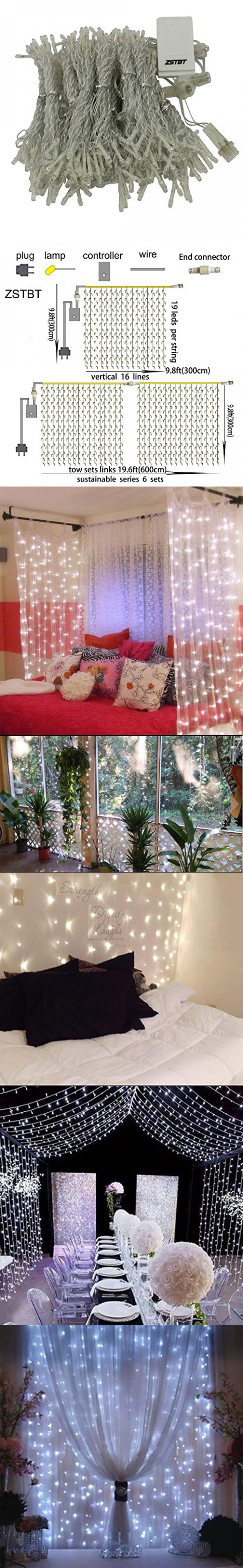 ZSTBT 300LED Linkable Window Curtain Icicle Fairy String Lights For Christmas Wedding Patio Lawn and Garden Decoration (White)