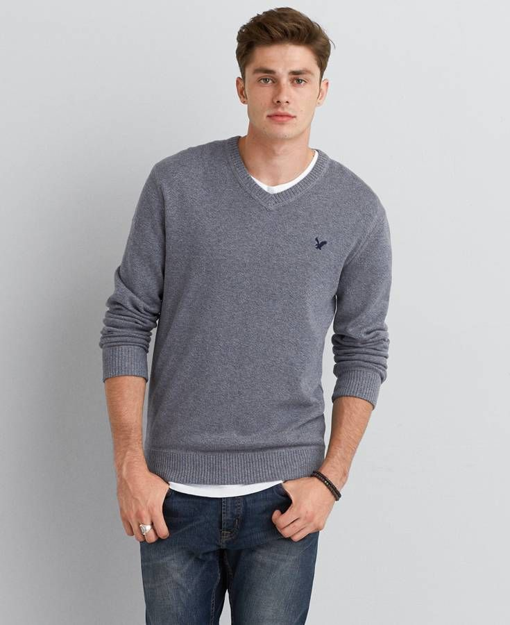 AEO Solid V Neck Sweater , Black Jaspe | American Eagle