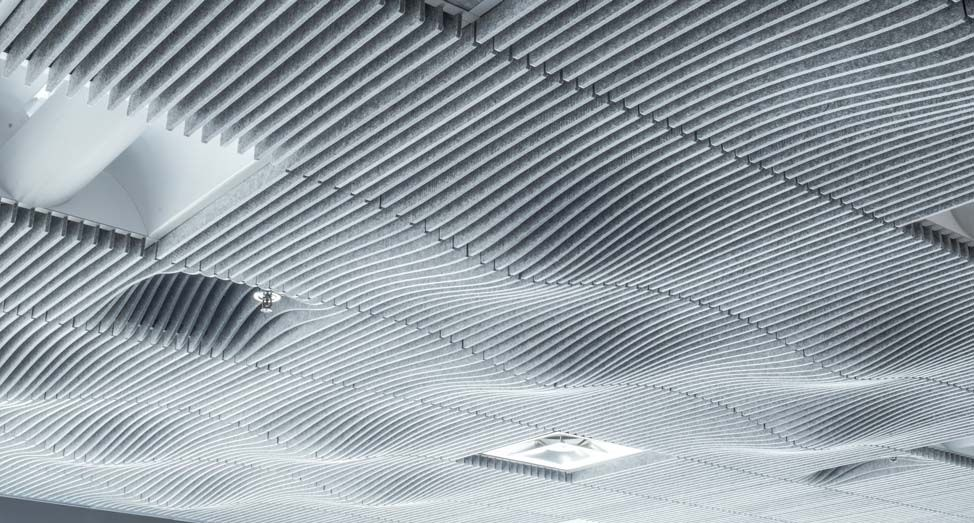 The Swell Ceiling System Is An Acoustic Drop Ceiling Tile Product Series That Transforms Office Interiors Thr Dropped Ceiling Drop Ceiling Tiles Ceiling System