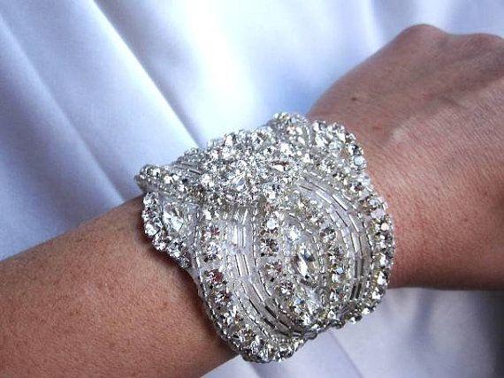 Bridal Crystal Bracelet beaded Cuff with Pearl by Tatishotties, $85.00