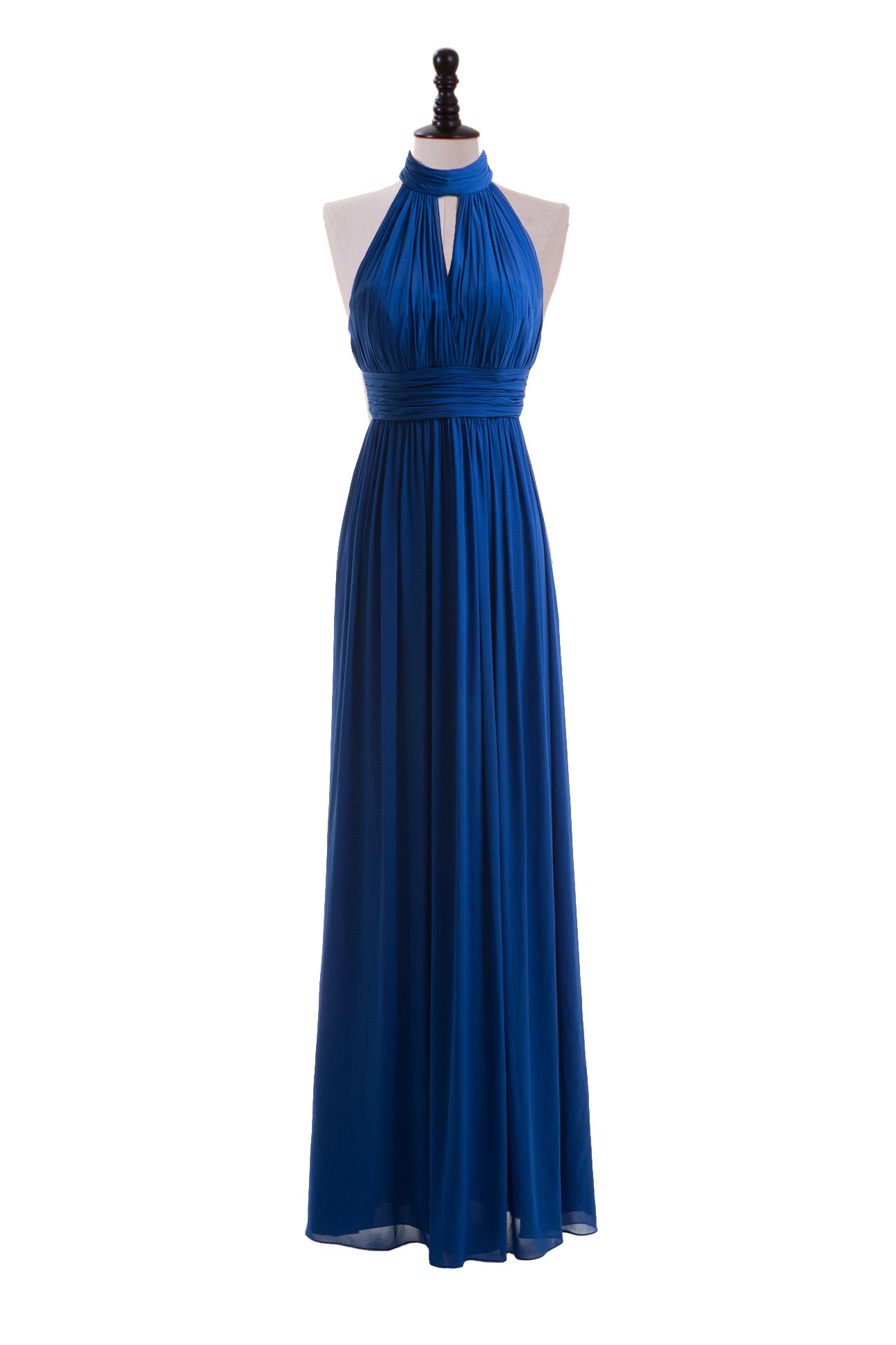 High neck strapless chiffon dress cute style but in emerald green