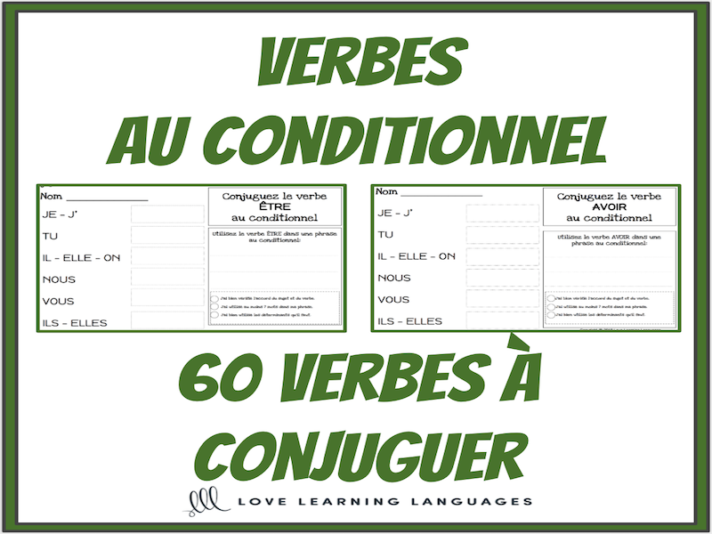 Verbes Au Conditionnel 60 Verbes Francais A Conjuguer Writing Exercises French Language Learning Bilingual Classroom