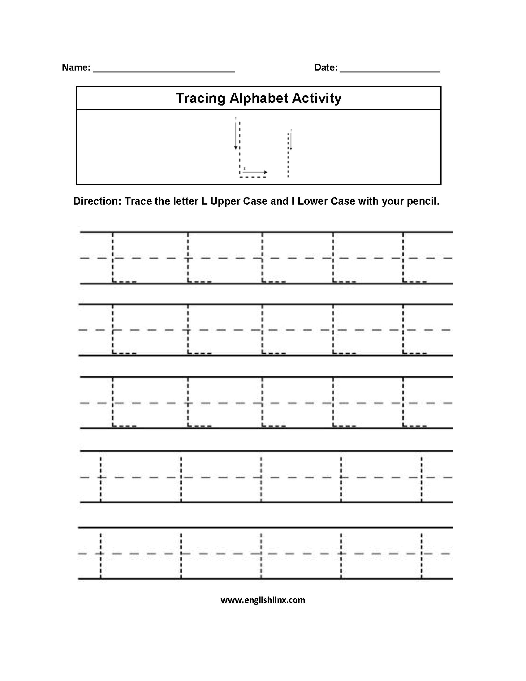 Letter L Tracing Alphabet Worksheets Alphabet Worksheets Preschool Preschool Tracing Alphabet Worksheets [ 2200 x 1700 Pixel ]