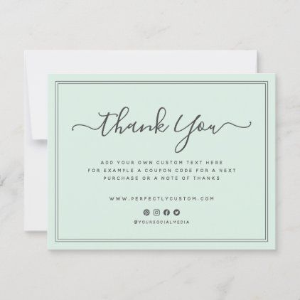 Light Mint Green Thank You Note Custom Logo Zazzle Com Boutique Cards Business Thank You Notes Business Thank You Cards