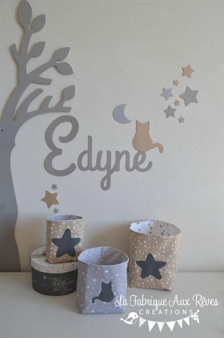 décoration chambre bébé taupe gris beige blanc étoiles chat   bébé ...