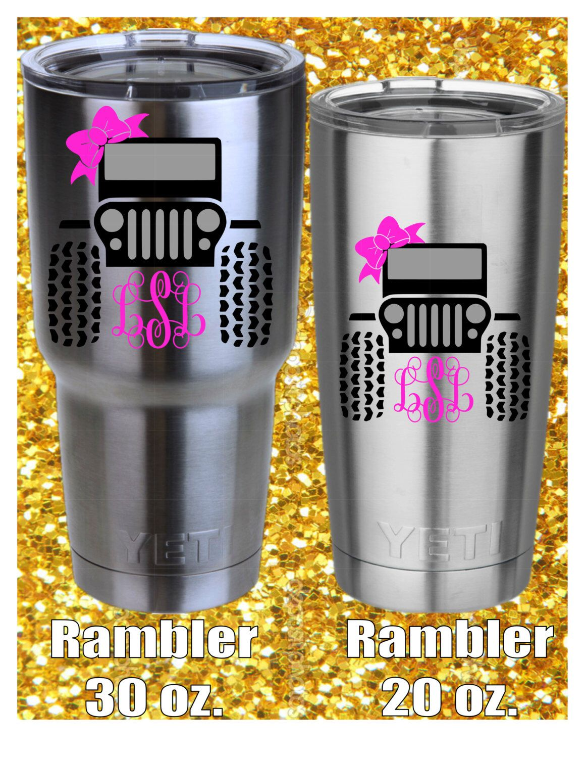 Monogram Jeep Girl Yeti Decal Itz A JEEP Thing Pinterest - Jeep vinyls for yeti cups