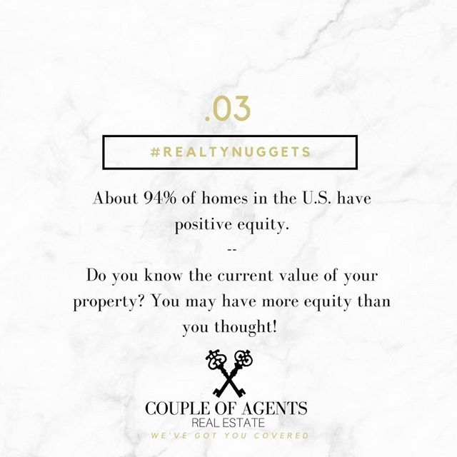 @coupleofagents || #RealtyNugget #003. -- This week's nugget is all about EQUITY! For all of our lovely homeowners out there in the world, are you currently aware of the value of your home? Roughly 94% of homes in the U.S. have positive equity! Meaning you could sell, and walk away with some extra $$ in your pocket! Visit us online for a FREE Home Equity Evaluation! -- #linkinbio #CoupleOfAgentsRealEstate