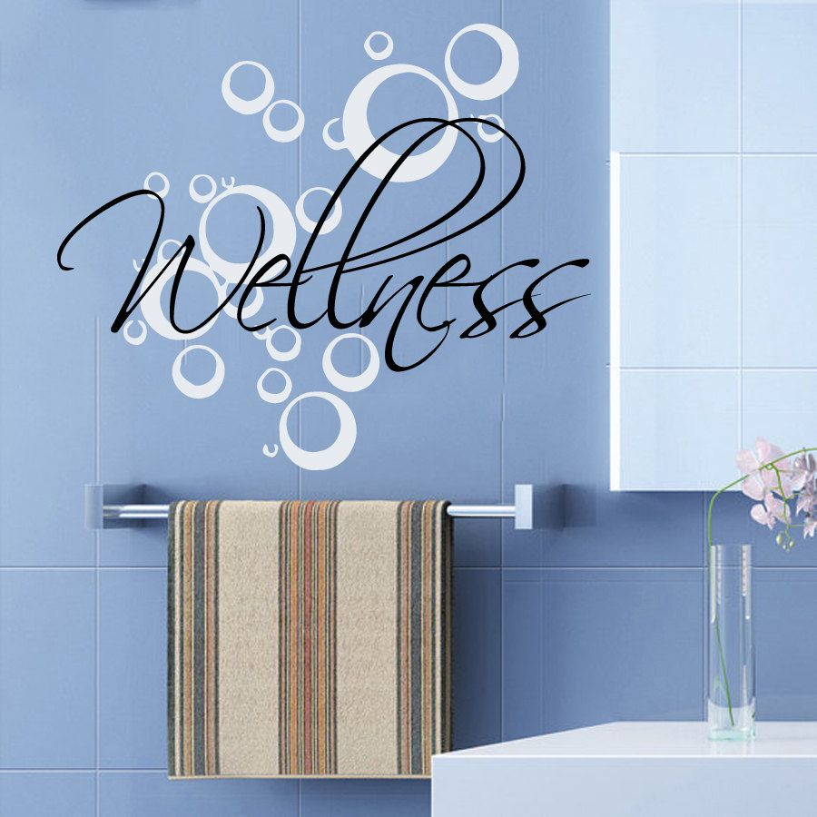 Wall decals wellness bubbles spa beauty salon health art for Stickers salon design