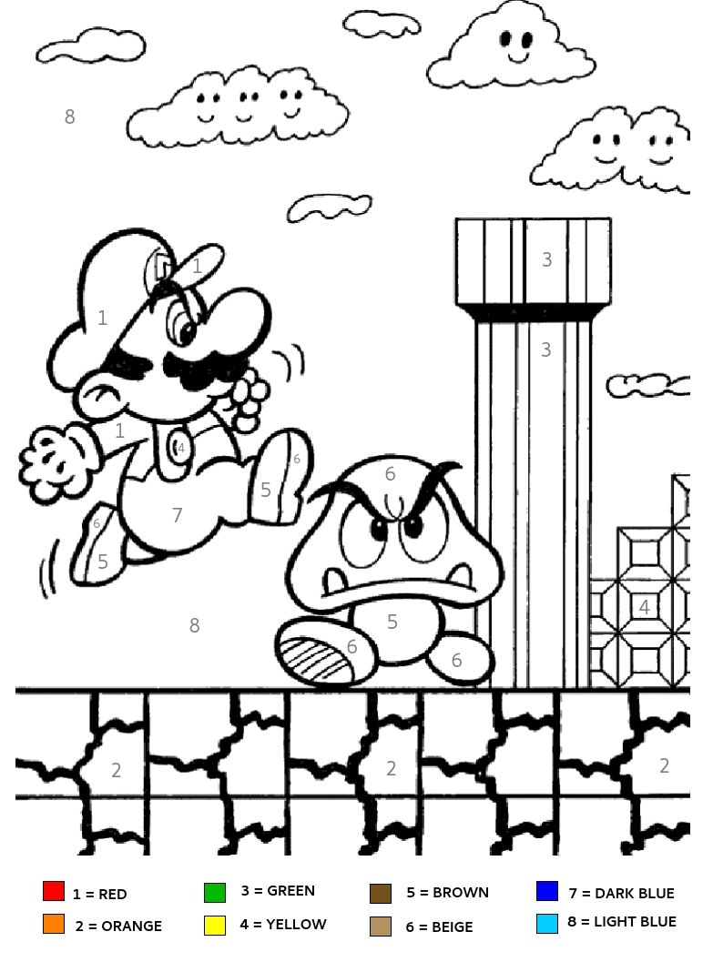 worksheet Mario Worksheets super mario brothers kids color by number coloring page good for party activities